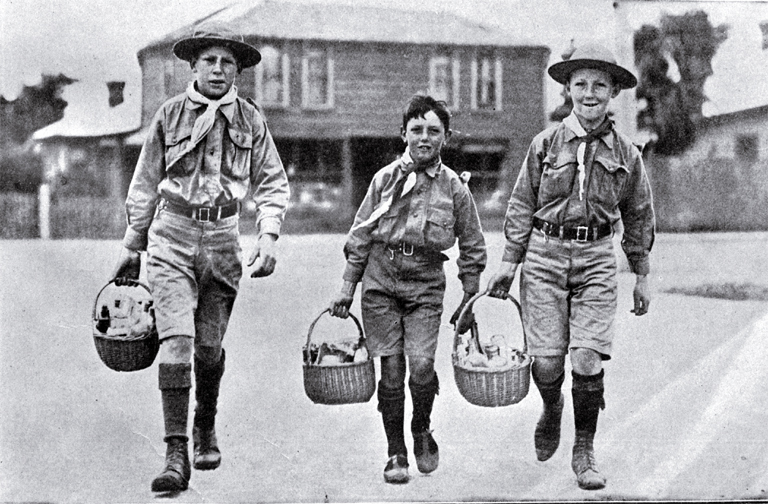 Cheerful boy scouts
