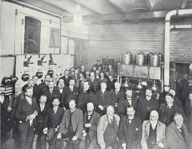 Christchurch Municipal Electricity Department, Christchurch : dignitaries assembled in the dynamo room.