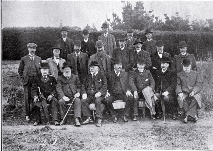 Members of the Christchurch Drainage Board and visitors present at the opening of the septic tank, Bromley sewage farm [4 Sept. 1905] CCL PhotoCD 2, IMG0084