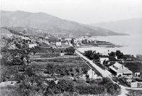 Akaroa looking south to the wharf in French Bay, with the Anglican Church at the left [ca. 1870]