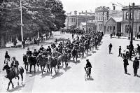 Mounted special constables passing along Oxford Terrace from Durham Street corner
