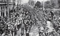 The march of the 16th Infantry, reinforcements for ANZACs, through Christchurch streets