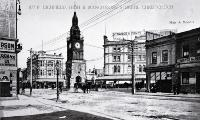 The clock tower when it was situated at the corner of Lichfield, High and Manchester Streets before it was moved to its present site in Victoria Street [ca. 1915]