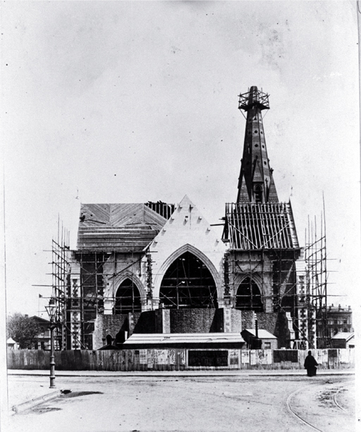 The spire, north transept & choir of the Cathedral under construction, looking at the east arch from Worcester Street, Christchurch [ca. 1880], CCL PhotoCD 2, IMG0025