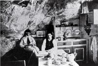 Interior of a cave hut at Taylor's Mistake, Christchurch, used by young men on weekend summer trips