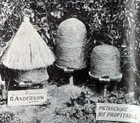 Old style of hives - picturesque, but not profitable.