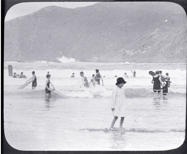 Swimmers in the surf, possibly at a Wellington beach