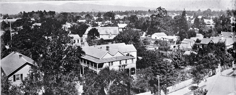 Half of a panorama of Merivale and St. Albans from the spire of the St. Albans Methodist Church, Rugby Street running through centre [1922], CCL PhotoCD 3, IMG0043