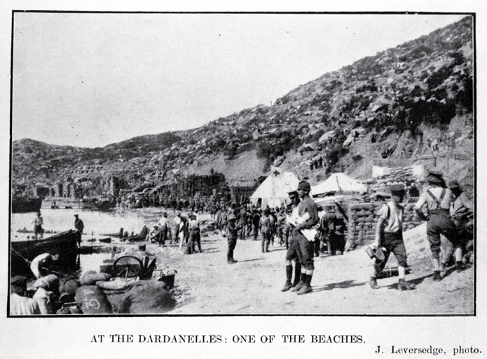 Soldiers near a Red Cross medical tent on one of the beaches at the Dardanelles, Gallipoli