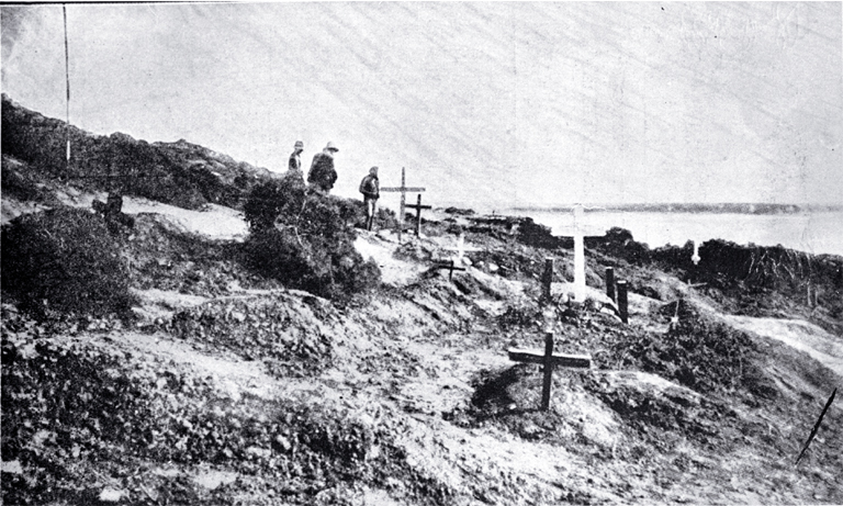 Graves of officers of the Australian and New Zealand Army Corps on the Gallipoli Peninsula