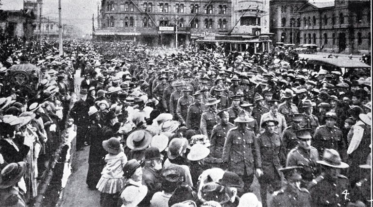 Returned soldiers pass through Cathedral Square, Christchurch [1917] File Reference CCL PhotoCD 3, IMG0051