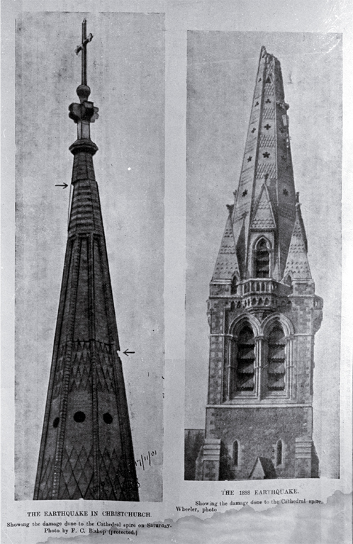 Earthquake damage to the Cathedral spire, in 1888 and 1901