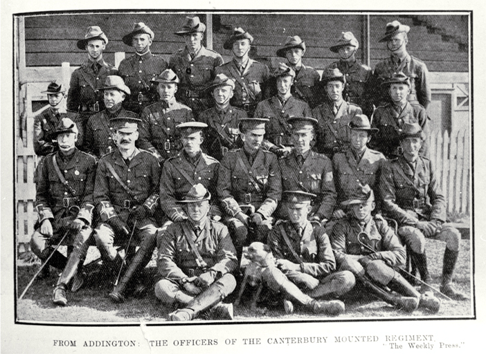 The officers of the Canterbury Mounted Regiment, Addington, Christchurch [1914] Shown shortly before their departure for service in the First World War, 1914-1918 File Reference CCL PhotoCD 3, IMG0080