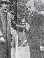 Robert Euing McDougall laying the foundation stone of the Art Gallery, Botanic Gardens, Christchurch, 1928