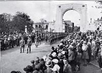 The Territorials cross the Bridge of Remembrance on the way to King Edward Barracks