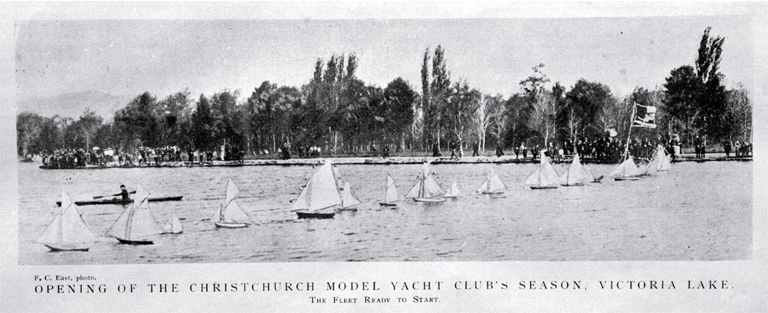 Opening of the Christchurch Model Yacht Club's season, Victoria Lake, Hagley Park, Christchurch