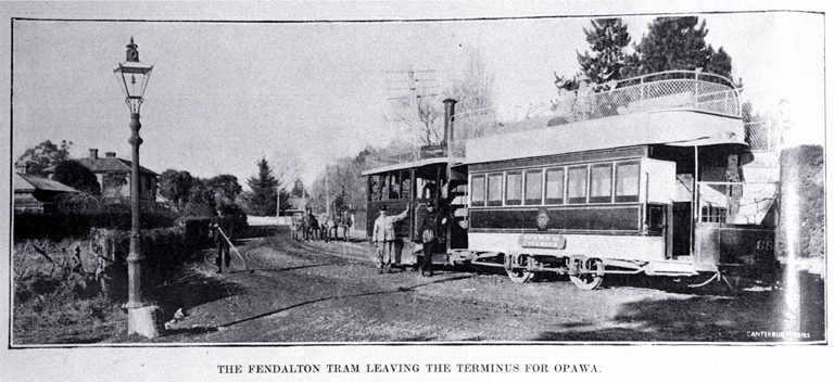 The Fendalton tram shown leaving the terminus in Fendalton outside the entrance to Mona Vale by the railway line