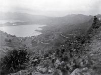 A view from Sugarloaf across Governor's Bay to Marsons Peninsula, Lyttelton, 1920