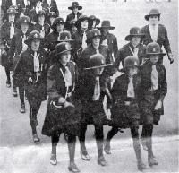 The first Rakaia Girl Guide Company marches at Cathedral Square, Christchurch, 1932