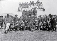 The Chatham Islands Jockey Club : Thomas Ritchie, President, seated in front, Tame Horomane Rehe (Tommy Solomon) at centre right. [1908]