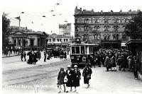 Pedestrians and a tram in Cathedral Square, Christchurch [193-?]