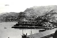 Lyttelton Harbour with ships at dock, ca 1910