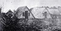 Settlers V Huts in Hagley Park, Christchurch, photographed by Dr Barker ca 1850