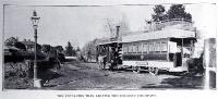 The Fendalton tram shown leaving the terminus in Fendalton outside the entrance to Mona Vale by the railway line [1907?]