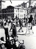 The Christchurch Wizard and the Bible Lady, Renee Stanton, in Cathedral Square, 1977