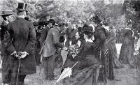 Garden party for the Old Colonists' Association at Riccarton House, 18 December 1900: Mrs Jane Deans is shown receiving her guests.