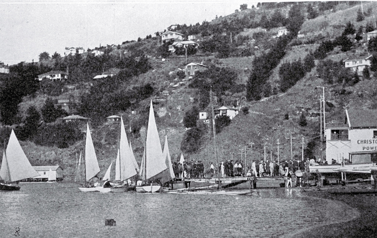 Opening of the yachting season at the boat-house and pier, Christchurch Sailing and Power-Boat Club, Redcliffs, Christchurch