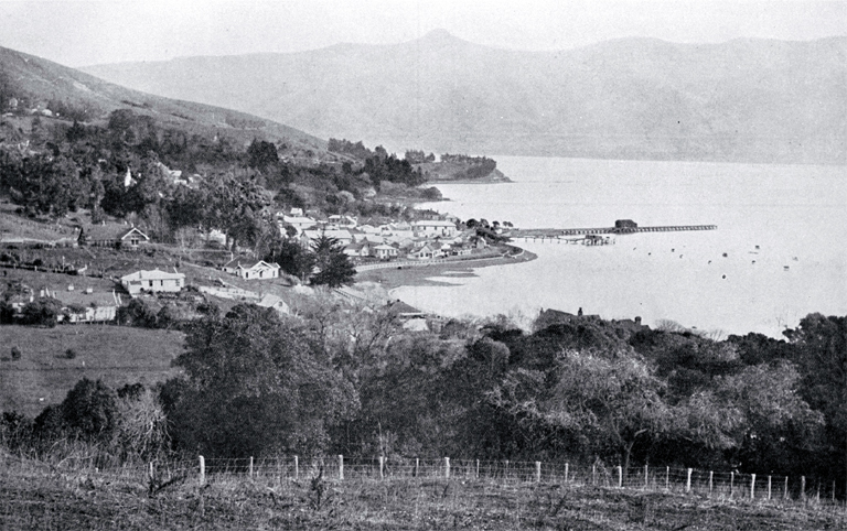 A view of the south end of Akaroa from near the golf links