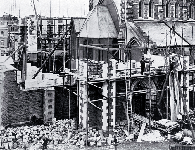 Construction being completed on the transept & chancel of the Christchurch Cathedral, begun in 1898 & completed 1904