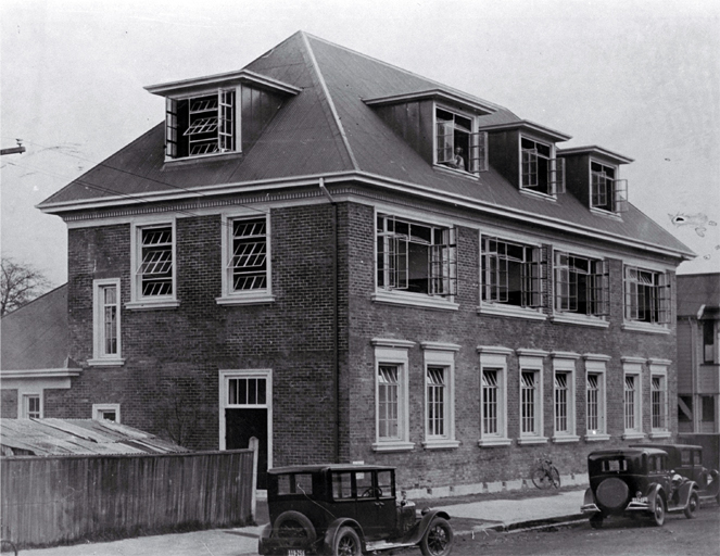 New addition to Cathedral Grammar School, Christchurch, built in 1928, at a cost of £4580, & opened June 1929