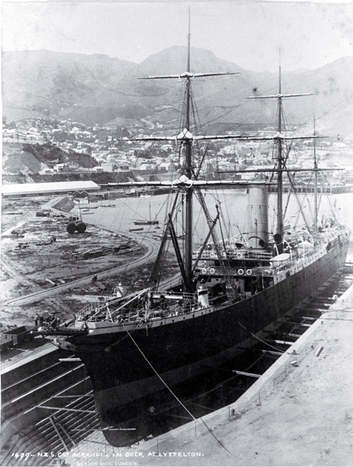 The NZ Shipping Co's Aorangi in the graving dock at Lyttelton Harbour