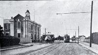 The first tram near the terminus on the new line from Papanui to Northcote, along the Main North Road [1913]