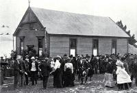 Te Wheke Hall, new Maori meeting house at Raupaki on opening day