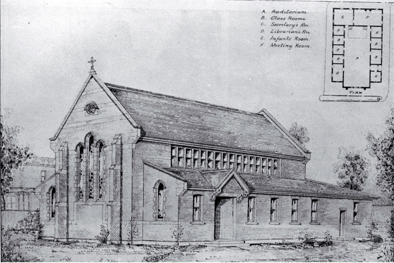 Plan for the Methodist Sunday School building, St Albans, Christchurch, to replace the old building destroyed by fire
