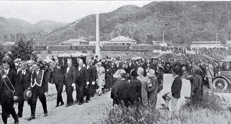 Dobson Mine Disaster, West Coast : the funeral procession of four of the victims is shown enetering the Karoro Cemetery, Greymouth.