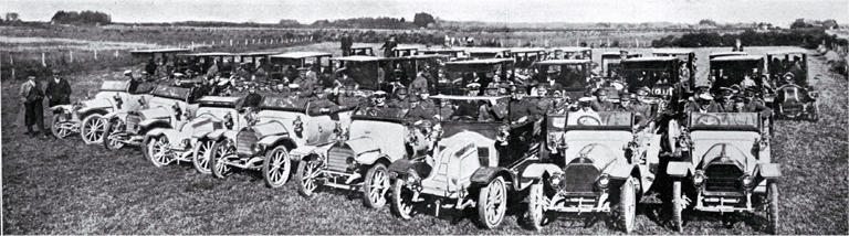 No. 1 Company, New Zealand Territorial Engineers leaving their camp at Marshland for Christchurch in taxicabs and motor cars
