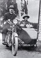A returned soldier in a motorcycle sidecar taking food to patients during the 1918 influenza epidemic