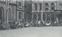 Some of the motorcycles and side-cars used as relief cars in conveying nurses, helpers and food-carriers