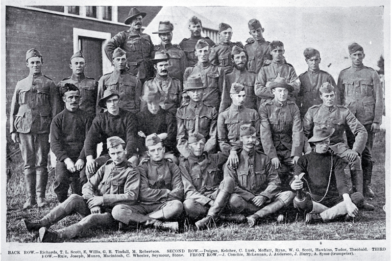 A troop of the New Zealand Rough Riders (the 3rd New Zealand contingent) in camp at Addington, Christchurch, shown shortly after enrolment