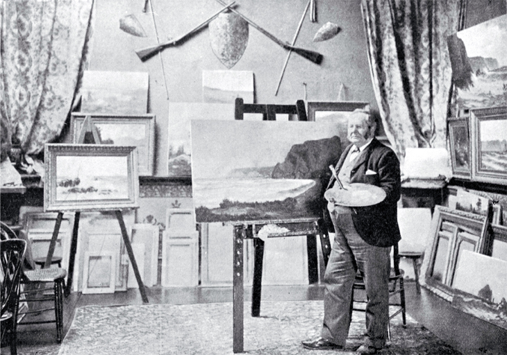 Canterbury artist John Gibb shown in his studio