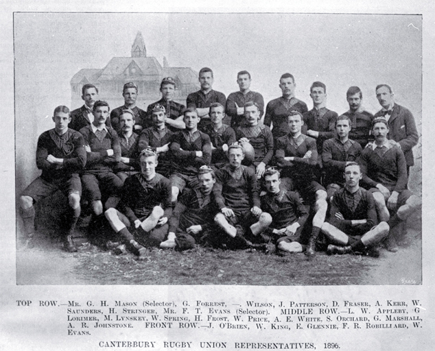 Canterbury Rugby Union representatives for 1896