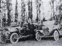 Two of the first motor taxis in Christchurch
