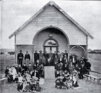 """The natives assembled in front of the Arowhenua Pa meeting house, Temuka"""