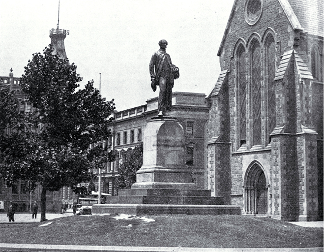 Photo of statue of John  Robert Godley, Cathedral Square [ca. 1930]