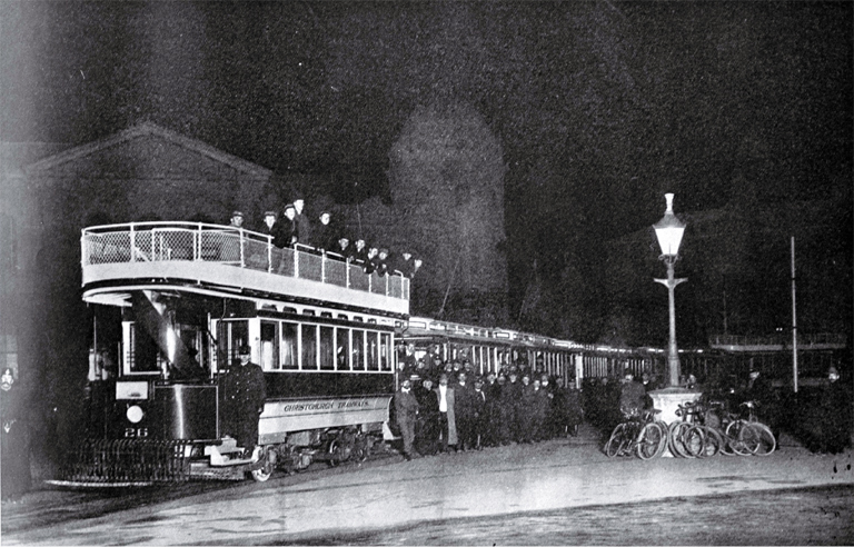 The Christchurch Tramway Company's opening of the Papanui line : the trial trip on midnight of Friday June 2nd : a photograph taken with a flash in Cathedral Square.