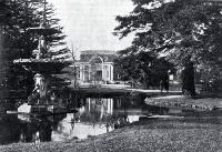 A view of the lily pond and Peacock Fountain with the McDougall Art Gallery in the background, Botanic Gardens, Christchurch [1935]